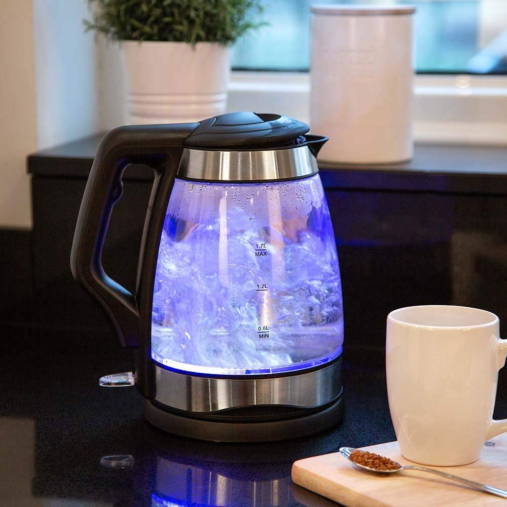 Wido Glass 1.7L LED Kettle Electric Clear Blue Light Illumination 2200W Cordless Tea Coffee