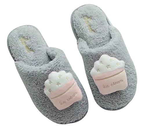 1927d655a40 FreLO Women s Grey Plush Ice Cream Fuzzy Slippers Fluffy Slippers ...