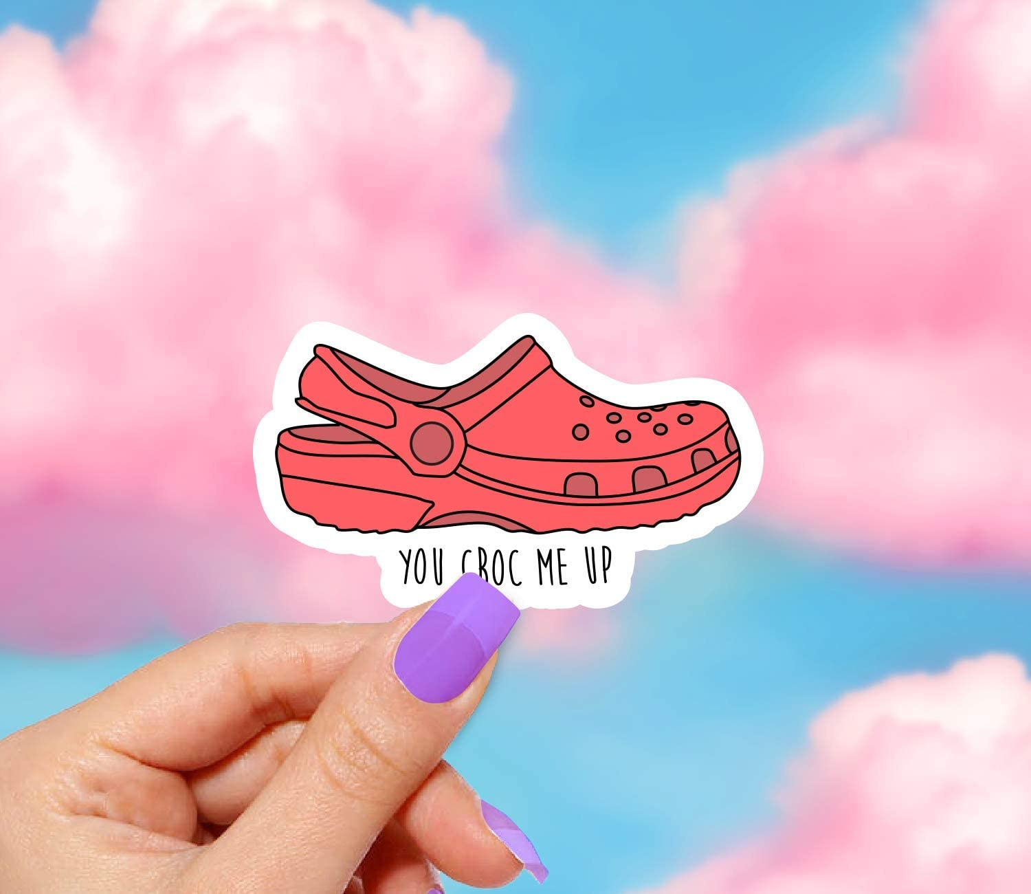 Aesthetic stickers VSCO Stickers Water bottle Croc Stickers Red Croc Sticker Laptop Stickers Crocs decal Red You Croc Me Up Sticker