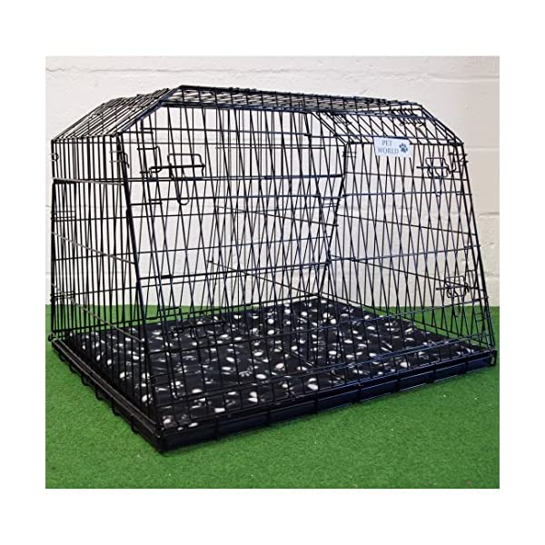 """Pet World UK 38"""" SLOPING CAR DOG CAGE ESTATE CAGES TRAVEL 4x4 BOOT CRATE PUPPY GUARD EST38LL 1"""