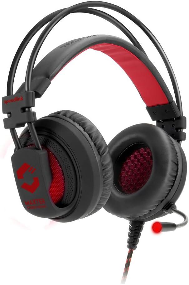 Full-Range Bass Black Stylish Design Illuminated Earcups Speedlink Maxter Stereo Gaming Headset for PC//Notebook
