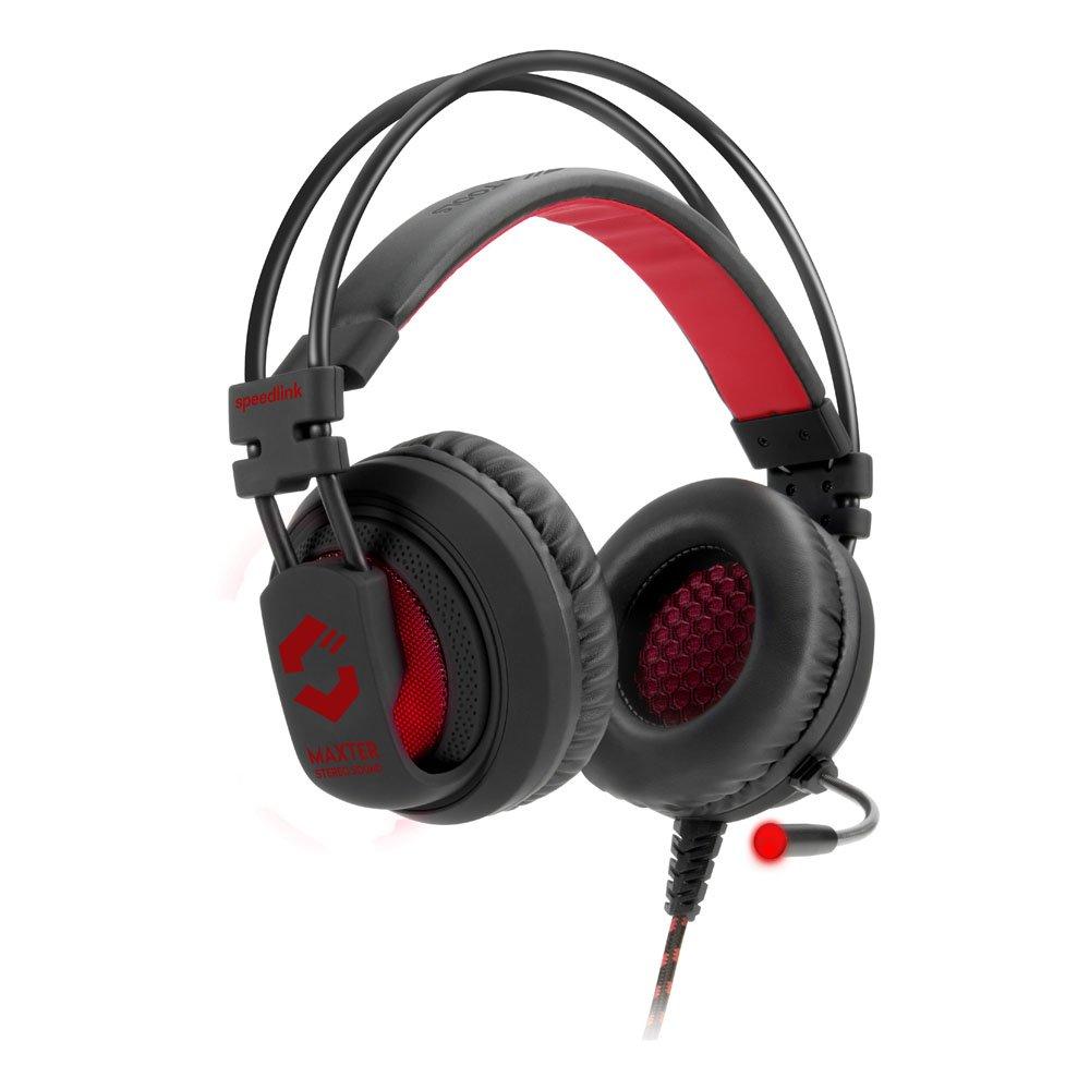 Speedlink Stereo Gaming Kopfhö rer - MAXTER Stereo Gaming Headset 3, 5mm (integrierte Kabelfernbedienung - LED Beleuchtung - Stereo Sound mit voluminö sen Bä ssen - Beleuchtete Ohrmuscheln) Schwarz SL-860002-BK