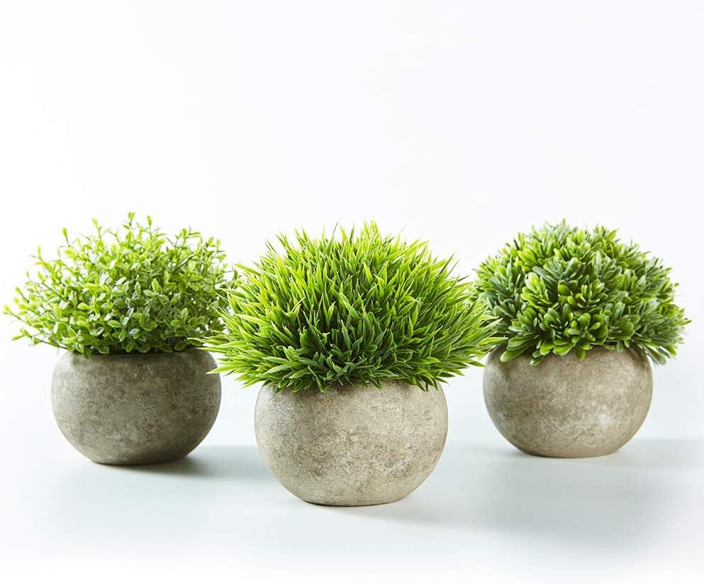 Jobary Set de 3 Plantas Artificiales con Césped Verde en Macetas Grises, Plantas Pequeñas Sintéticas de Plástico Decorativas, Ideales para la Decoración de la Casa, Cocinas, Oficinas y Exteriores