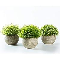 Jobary Set de 3 Plantas Artificiales con Césped