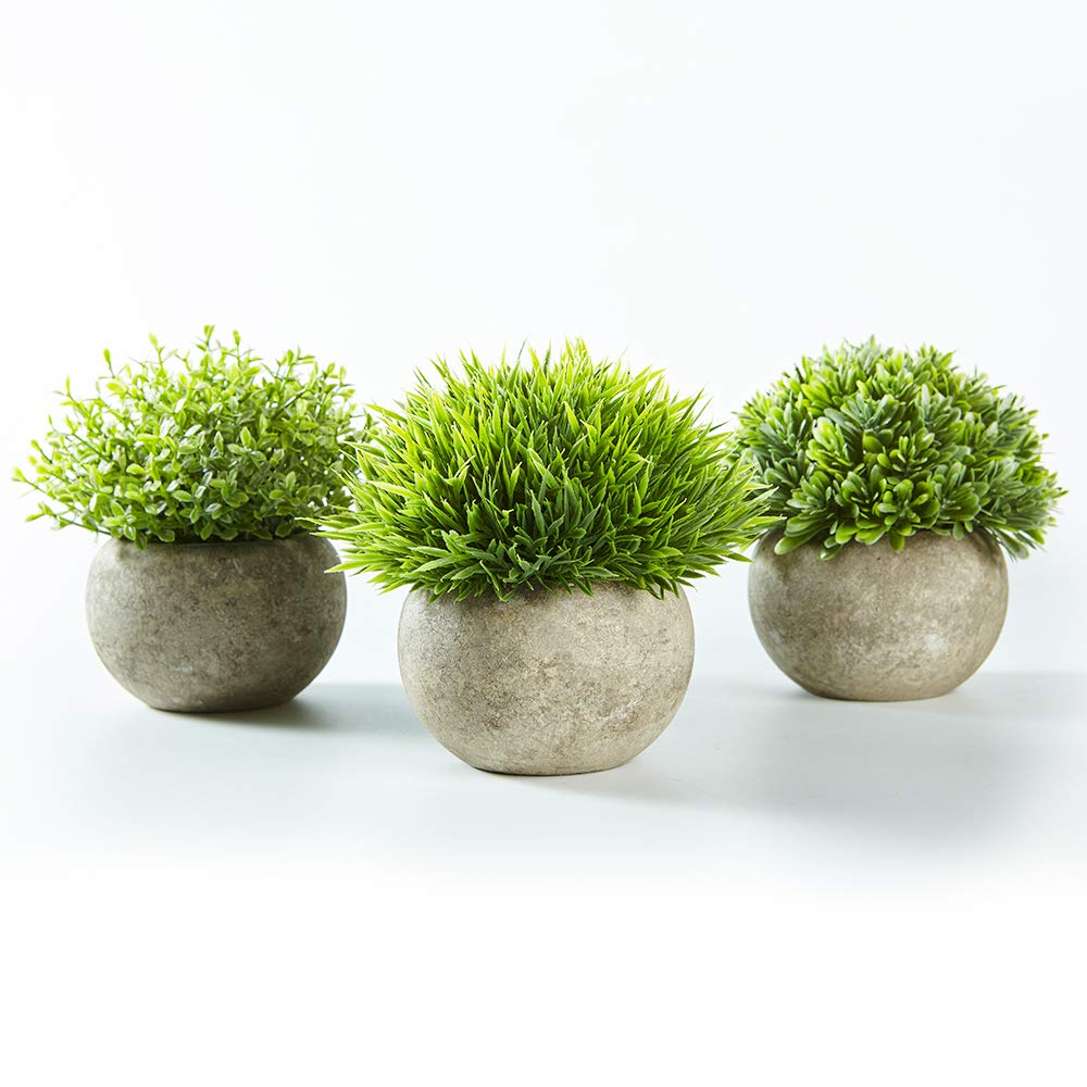 Jobary Set Of 3 Artificial Green Grass Plants In Grey Pots Small Decorative Faux Plastic Plants Indoors For Home Office Bathroom Kitchen And Outdoor Decor Buy Online In United Arab Emirates At