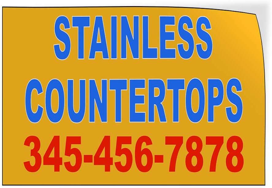 Custom Door Decals Vinyl Stickers Multiple Sizes Stainless Countertops Phone Number B Business Countertops Outdoor Luggage /& Bumper Stickers for Cars Yellow 45X30Inches Set of 5