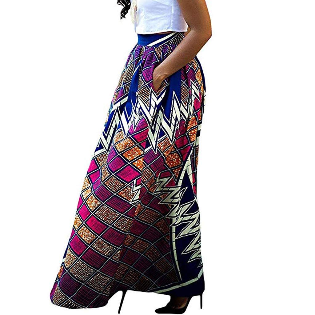 WOCACHI Skirt for Womens, Womens Fashion Leisure African Flower Long Skirt High Waist A-line Long Skirt Trendy Halter Backless Hollow Out Long Sleeve Sleeveless Strap Strapless Lace Bodycon by WOCACHI (Image #2)
