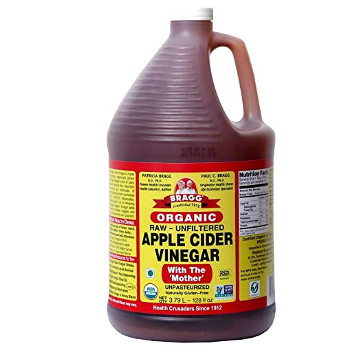Organic Raw Apple Cider Vinegar Unfiltered Bragg 1 Gal (128oz) Liquid