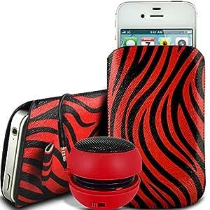 Direct-2-Your-Door - BlackBerry Q10 protección PU Zebra Diseño deslizamiento cordón tirador de la cremallera en la caja de la bolsa con cierre rápido y 3.5mm Mini altavoz recargable - Rojo