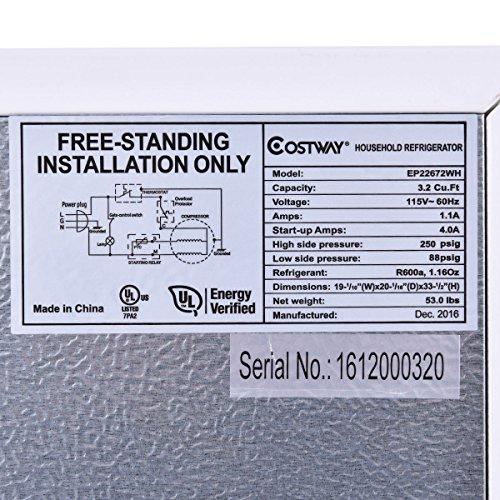 Costway Door Apartment Size Refrigerator Cu Ft Unit