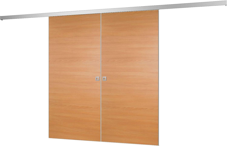 2 flügelige Puerta corrediza Puerta de madera puerta corrediza habitaciones haya 1760 X 2035 mm Puerta Interior biombos Puerta Corredera Sistema Juego completo con puerta corredera de Herraje & 2 x Puerta