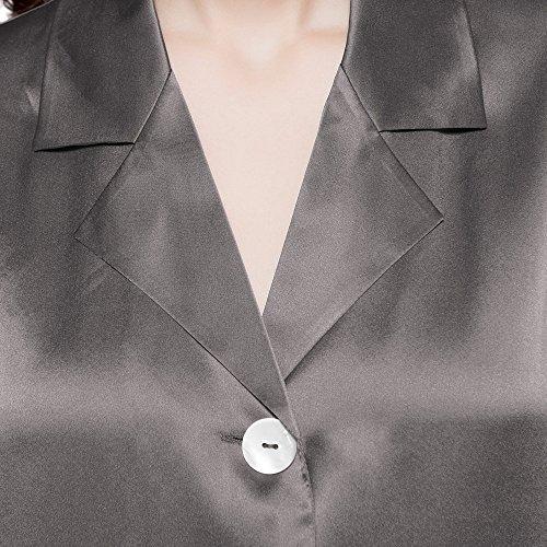 LilySilk Seiden Lang Damen 22 Nachtwäsche Grau Momme Nachtkleid rnBqrwRC