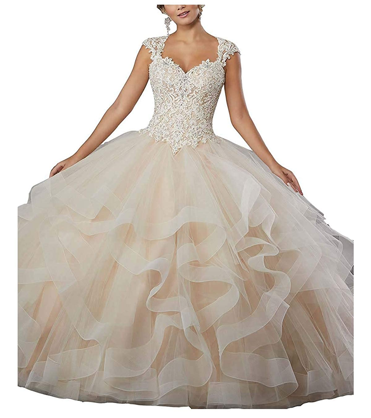 Champagne ZLQQ Women's Sweet 16 Lace Applique Beading Sleeveless Ball Gown Quinceanera Dresses