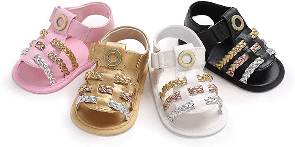 White 3-6M Newborn Infant Toddler Baby Girl Braided Faux Leather Crib Shoes Sandals Gift First Walkers Shoes