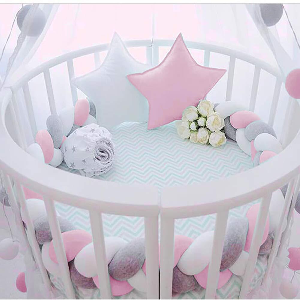 Luchild Braided Crib Bumper 78.7 inch 2m Baby Crib Bumper Knotted Braided Plush Nursery for Newborns Bed Sleep Bumper Gray+White+Green