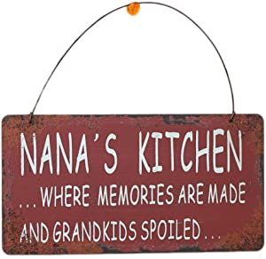 Attraction Design Metal Decorative Nanas Kitchen Sign Wall Plaque, 4 X 7.5 Inch Vintage Style Hanging Sign Wall Decor Saying Nanas Kitchen Where Memories are Made and Grandkids are Spoiled