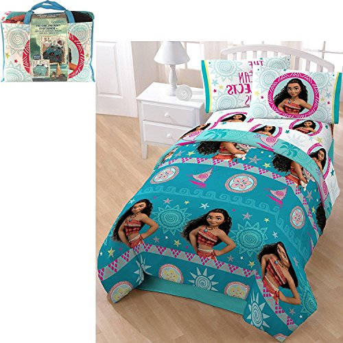 5pc Girls Disney's Moana Movie Themed Comforter Twin Set, Cute Moana Pua Fun Pattern, Blue, Mandala Medallion Floral Stripes, Animated Character Bedding by D&D