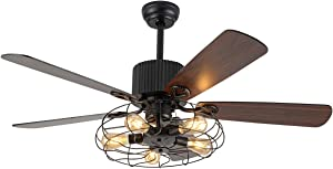 """Retro Industrial Ceiling Fan Light 52 Inch 5-Lights E27 Fixture for Restaurant Living Room Bedroom Create Iron Cage Rustic Style (52"""" Retro Industrial) (Retro Industria Cage)"""