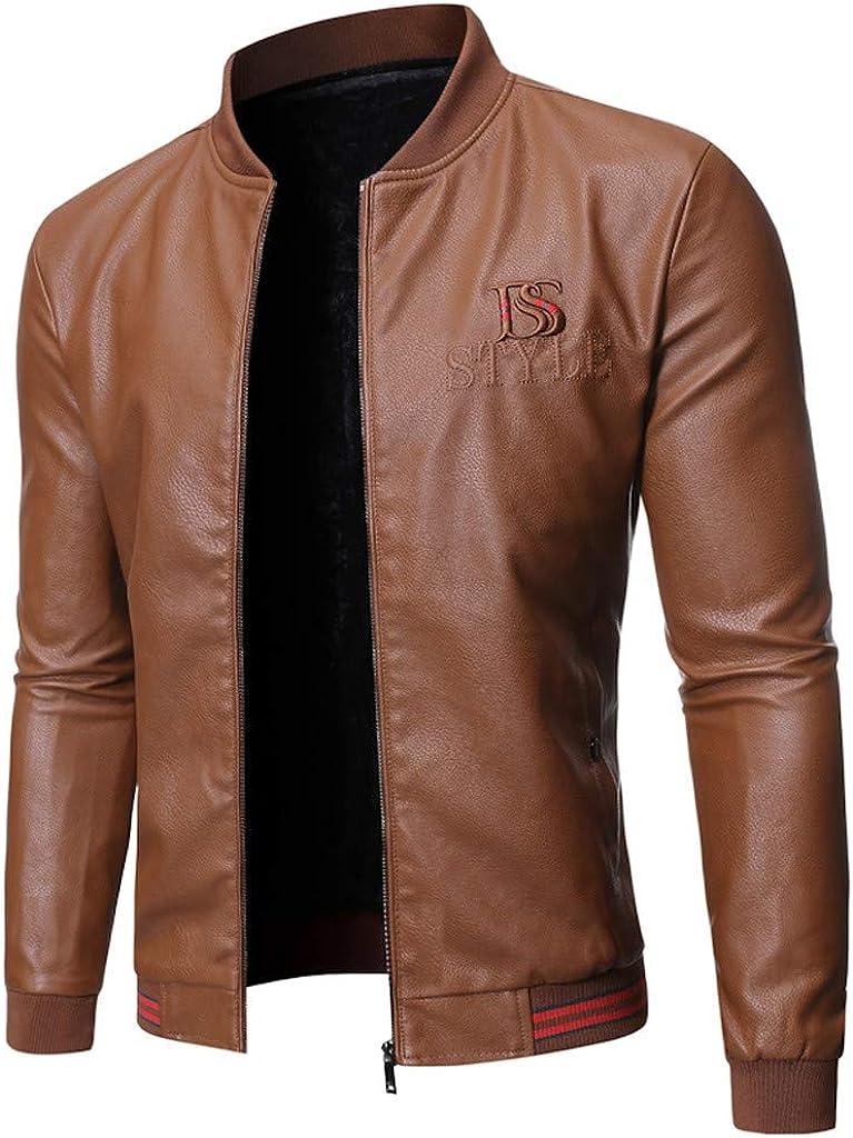 Yomiafy Mens Winter Fashion Slim Zip Up Leather Jacket Casual Motorcycle Jacket Coats