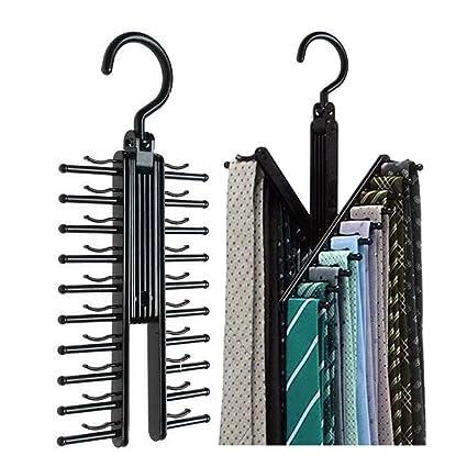 Soporte para colgar y organizar corbatas de Amknn, 360 grados, perchas cruzadas en «