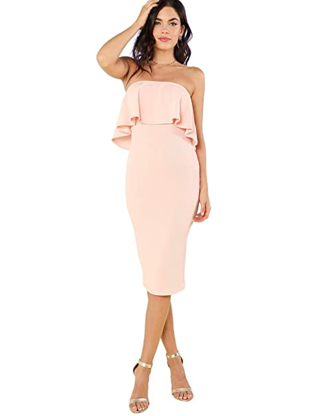 5468e300d5c Romwe Women s Ruffle Strapless Bodycon Tube Stretchy Party Dress at Amazon  Women s Clothing store