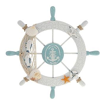rienar nautical beach wooden boat ship steering wheel fishing net shell home wall decor white