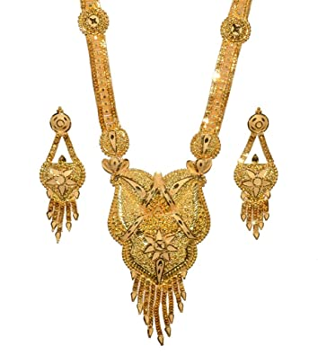 Buy Fabzeel 24k 1 Gram Gold Plated Long Necklace Set 24 Inch Chain
