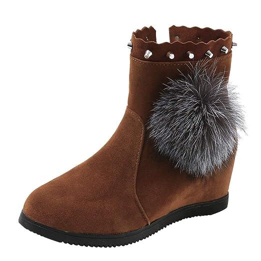 ❤ Botas de Nieve para Mujer, Botas de Gamuza y Bola de Peluche de Gamuza para Mujeres Calzado con Cremallera en Color Puro Mantener Las Botas Calientes ...