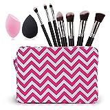 Travel cosmetic bag with 1pc blackBlender Sponge+1pc pink Blender Sponge+7pcs makeup brush set (rose red)