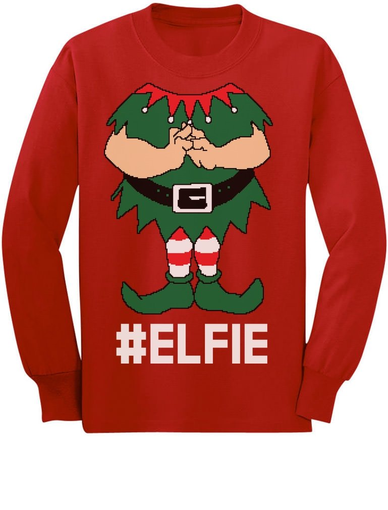 TeeStars - Elf Suit Funny Elfie Christmas Youth Kids Long Sleeve T-Shirt GM0PllZgCm