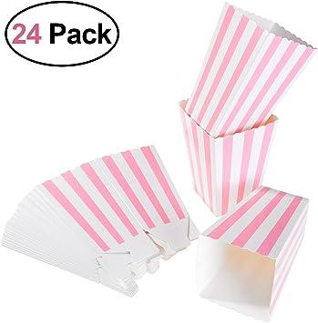 YeahiBaby Caja de palomitas de maíz 24 piezas Bolsas de caramelo de cartón de color rosa Bolsas de papas fritas, Cumpleaños Baby Shower Favores de fiesta: Amazon.es: Juguetes y juegos
