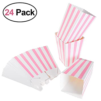 NUOLUX 40pcs Popcorn Boxes Rugby Stripe Pattern Decorative Awesome Decorative Popcorn Boxes