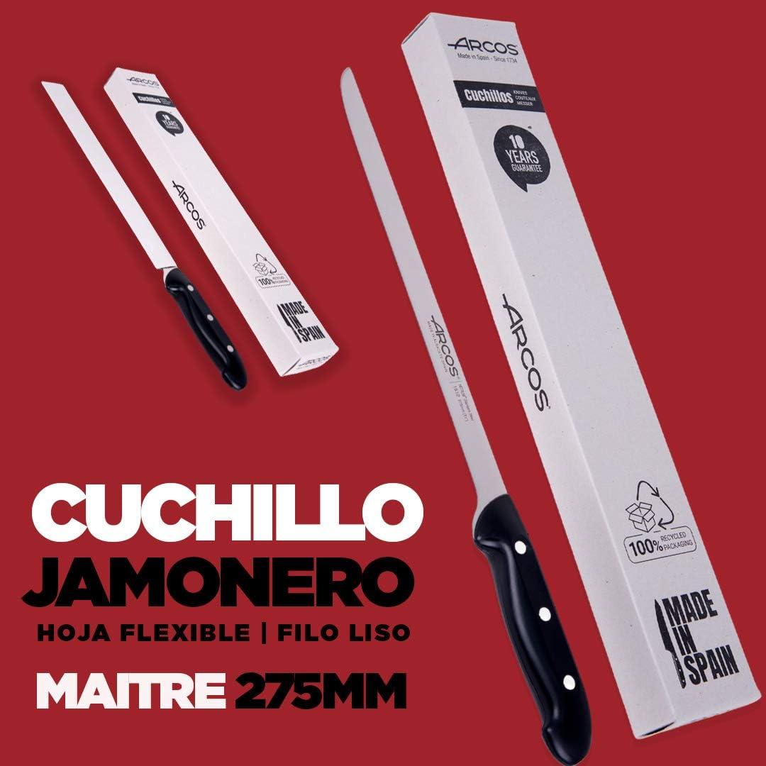Serie Maitre| Hoja Flexible y Filo Liso Cuchillo jamonero jamonero Inoxidable Nitrum Mango Negro 275 mm Arcos jamonero Profesional Acero Inoxidable Cuchillo Jamon iberico
