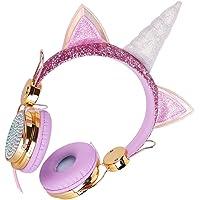 Lurrose Fone de Ouvido Unicórnio Infantil Fone de Ouvido Com Microfone para Meninas Crianças Adolescentes Faixa de…