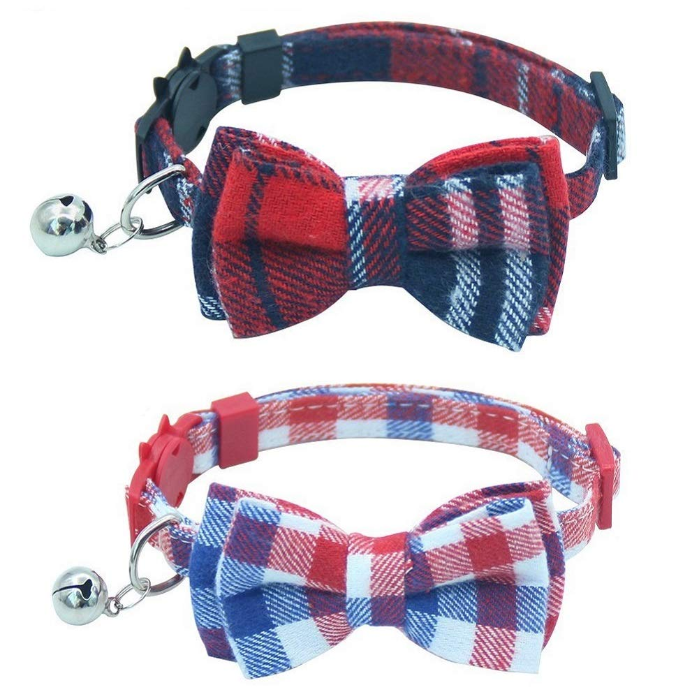 Stock Show 2Pcs Pet Dog Cat Breakaway Collar with Bell Adjustable Cute Necklace Bowknot Collar for Small Dog Puppy Cat Kitten Kitty, Plaid White&Red