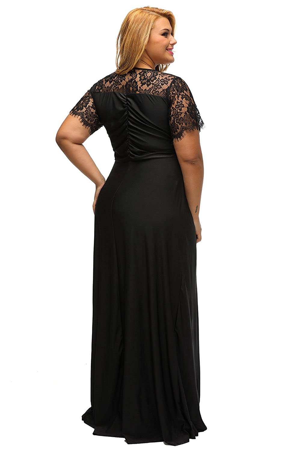 6a4148c060 Lalagen Women s Lace Sleeve V Neck Plus Size Evening Maxi Dress Gown Black  XL at Amazon Women s Clothing store