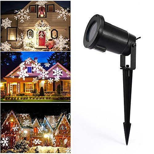 Christmas Projector Light Outdoor, Malivent LED Snowfall Rotating Snowflake Projector Lights Waterproof Low Voltage Power with Wireless Remote Control Decorative for Halloween New Year Patio (Decorativos De Halloween)