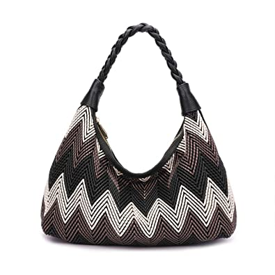 abfcce3e9135 Amazon.com: Women Hobo handbags fashion purses designer hand woven shoulder  bag large capacity tote bags PU Leather (black): Shoes