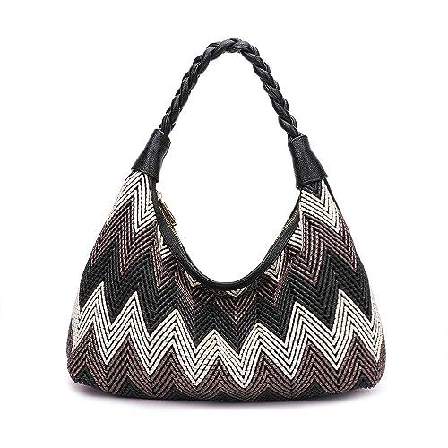 0f9c1df118ad Amazon.com  Women Hobo handbags fashion purses designer hand woven shoulder  bag large capacity tote bags PU Leather (black)  Shoes