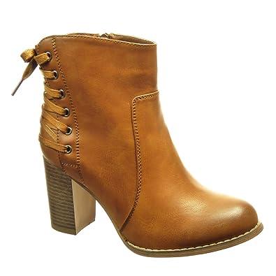 3c1e447359f72 Angkorly - Chaussure Mode Bottine Low Boots Femme Lacets Talon Haut Bloc 8  CM - Intérieur