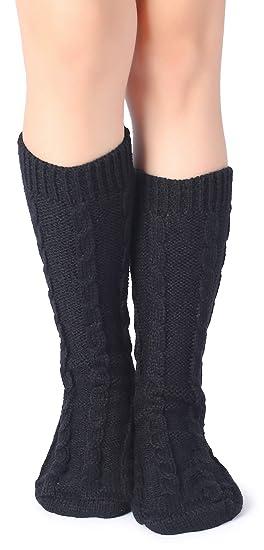 Eleray Womens Comfort Leg Warmers Crew Thick Knit Warm Pattern