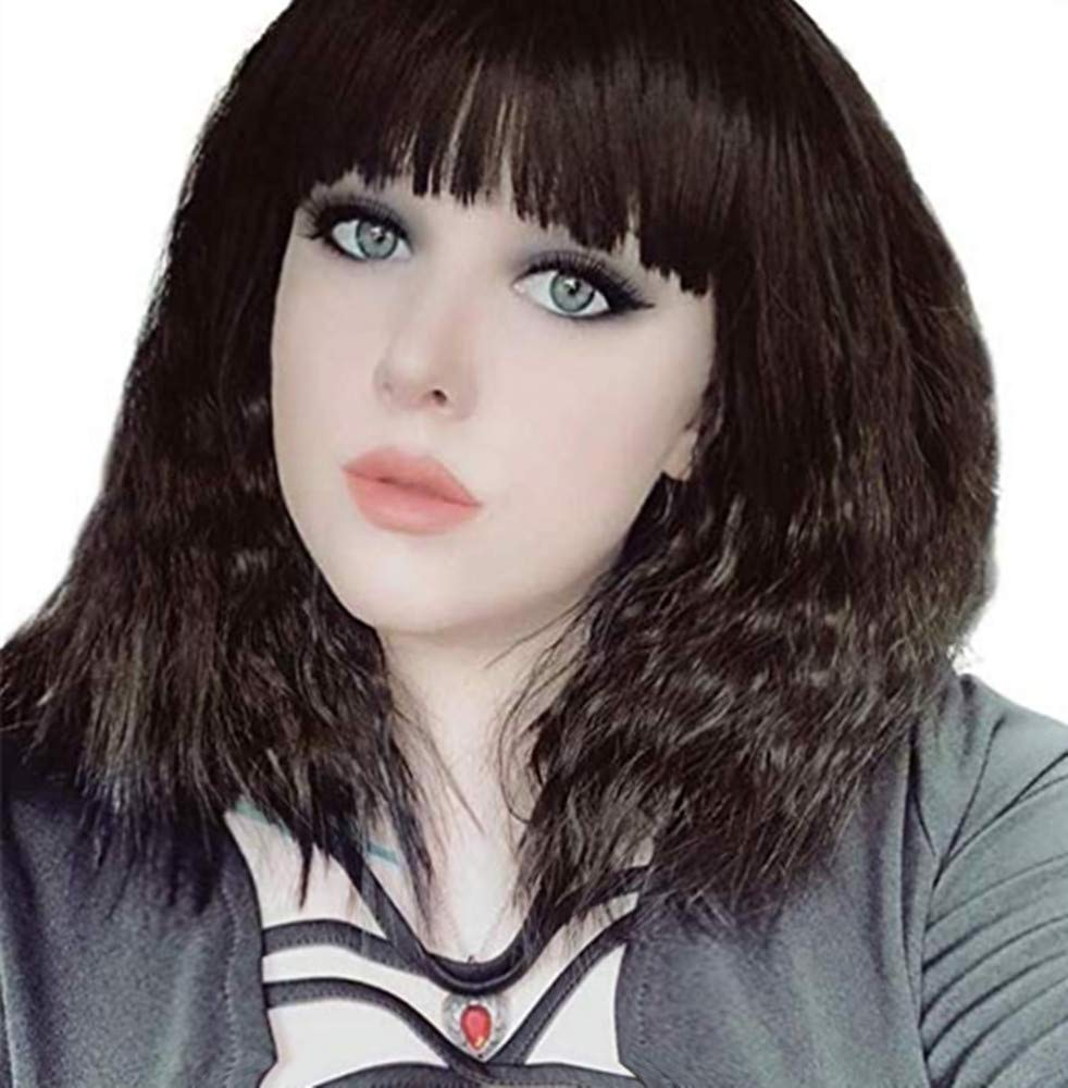 eNilecor Women Short Bob Fluffy Hair Full Wigs with Bangs Heat Resistant Kinky Straight Custom Cosplay Party Wigs (Dark Brown)