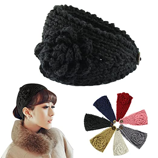 188b391cac061a Voberry Women Crochet Headband Knit Hairband Flower Winter Ear Warmer  Headwrap (Black)