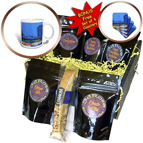 3dRose Alexis Photo-Art - Moscow City - Blue hour traffic along Garden Ring avenue of Moscow. Winter evening - Coffee Gift Baskets - Coffee Gift Basket - Avenues Hours