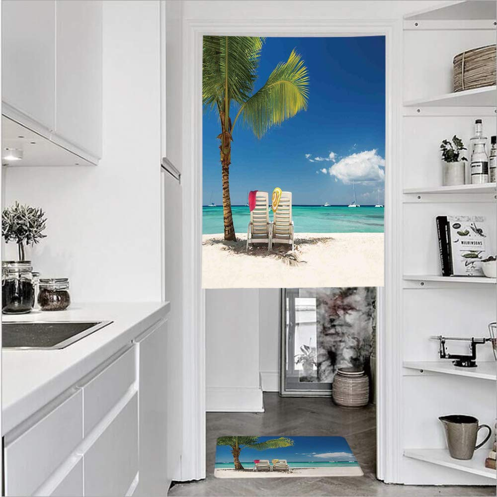 "SCOCICI 3D Printed Linen Textured French 1 Panel Door Curtains 1pcs Doormat Kitchen Mat Rug,on Remote Beach Palm Tree Chairs BoatsSingle Panel Door Curtain 31.5"" w 47.2"" h + 1 PCS Doormat 15.7"" h"