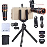 Apexel HS12XDG3 4 in 1 HD 12X Optical Telescope Zoom Lens+ Fisheye+ Wide Angle+ Macro Lens with Universal Clip+ Tripod for iPhone X/8/7/7Plus - Black