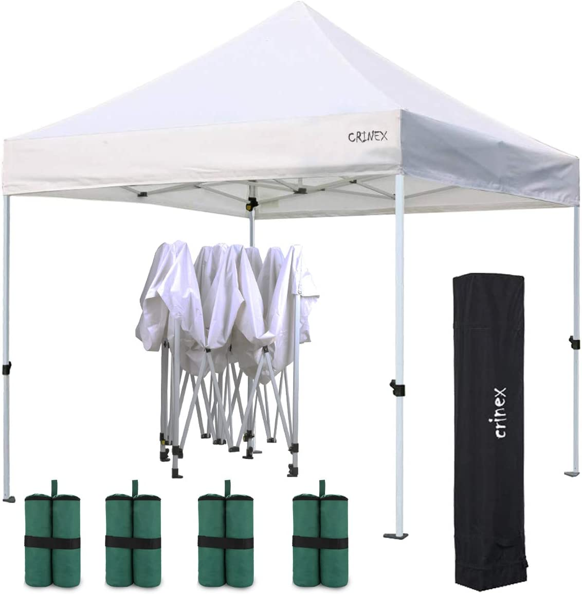 CRINEX 10 x10 Ez Pop Up White Canopy Tent, Sports Fan Canopy with Heavy Duty Black Carry Bag and Bonus 4-Pack Canopy Weight Bags