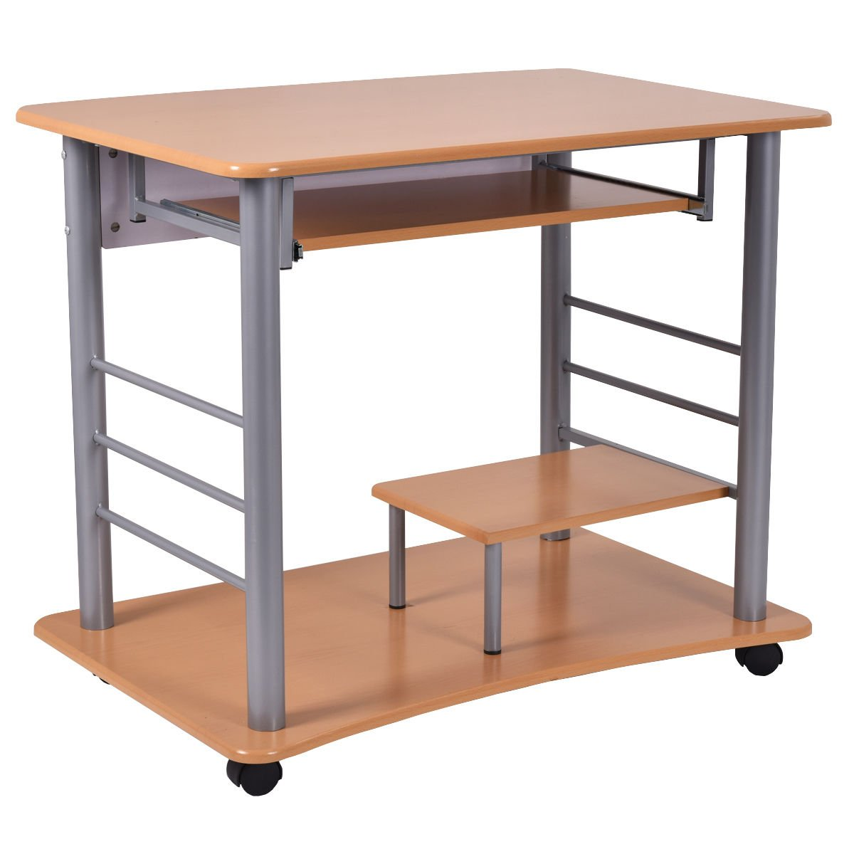 Amazon Tangkula Rolling puter desk Laptop PC Table for