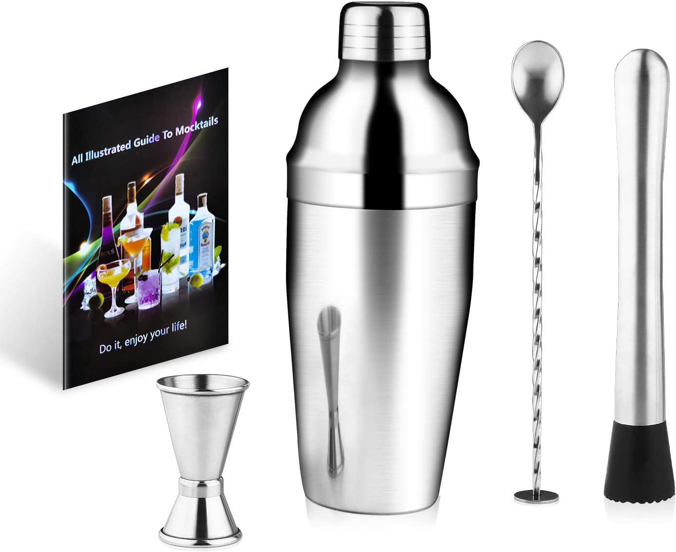 Cocktail Shaker Set 4 Piece, 25oz Stainless Steel Bartender Kit Professional Martini Mixing Bartending Kit Combination, Home Stylish Bar Tool Set with Cocktail Recipes Booklet