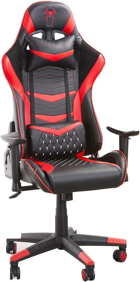 Todo para el streamer: Home Heavenly®- Silla Gaming Boss, Silla de Oficina, Escritorio, sillón Gamer ergonómico, Giratorio con Cojín Reposabrazos 2D Ajustables Respaldo Reclinable (Rojo)